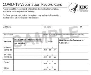 Sample COVID 19 Vaccination Record Card