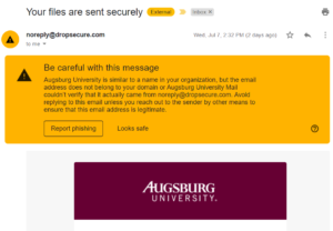 Drop Secure Phishing Warning