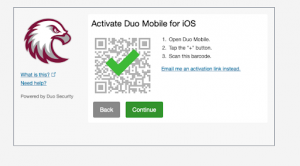 Activate Duo Mobile for iOS and tap Continue