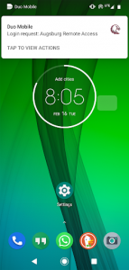 Duo Mobile: Login request Augsburg Remote Access: Tap to view actions