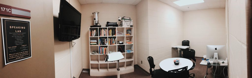 A panoramic picture of the speaking lab office