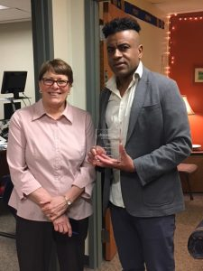 Outstanding Staff Award recipient, David Hamilton with Staff Senate member Theresa Gade