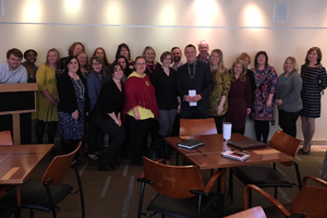 Institutional Advancement gathers to celebrate Mike Matson's Auggie Pride Award